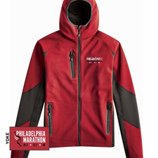Philadelphia Marathon: 'Embroidered Landmarks' Men's Soft-Shell Hooded Full Zip Jacket - Red - by Phantom™