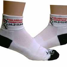 Philadelphia Marathon: 'Event Logo' Adult Channel Air� Tech Socks - White - by Sock Guy�