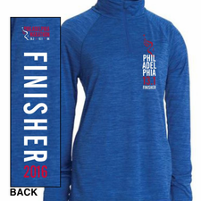 Philadelphia Marathon: 'Finisher 13.1' Women's Space Dye 1/4 Zip Tech Pullover - Royal - by Charles River