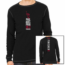 Philadelphia Marathon: 'Finisher 26.2' Men's LS Thermal Tee - Black / Grey - by Canvas®