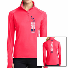 Philadelphia Marathon: 'Finisher 26.2' Women's Colorblock 1/2 Zip Stretch Pullover - Hot Coral - by Sport-Tek®
