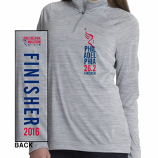 Philadelphia Marathon: 'Finisher 26.2' Women's Space Dye 1/4 Zip Tech Pullover - Grey - by Charles River