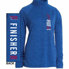 Philadelphia Marathon: 'Finisher 26.2' Women's Space Dye 1/4 Zip Tech Pullover - Royal - by Charles River