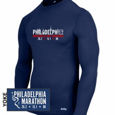 Philadelphia Marathon: 'Landmarks' Men's LS Compression Tee - Navy - by A4™