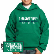 Philadelphia Marathon: 'Landmarks' Youth Fleece Pullover Hoody - Kelly Green - by Port & Company®