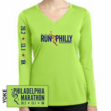 Philadelphia Marathon: 'Run Philly' Women's LS Tech V-Neck Tee - Lime Shock - by Sport-Tek®
