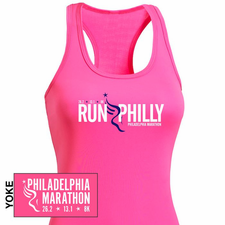 Philadelphia Marathon: 'Run Philly' Women's Racerback Tech Singlet - Hot Pink