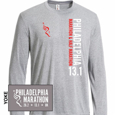 Philadelphia Marathon: 'Vertical - 13.1' Men's LS Tech Tee - Steel