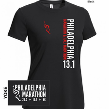 Philadelphia Marathon: 'Vertical - 13.1' Women's SS Tech Tee - Black