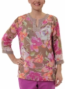 Floral Top with Pattern Trim in Mocha by Alfred Dunner