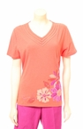 Flower Applique T-Shirt in Mango by Alfred Dunner
