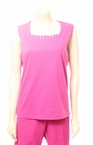Lattice Trim T-Shirt in Fuchsia by Alfred Dunner