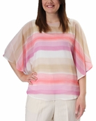 Scoop NeckStripe Butterfly Top in Antique White Multi by Ruby Rd.