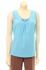 Sleeveless Beaded Top in Liquid Blue by N-Touch