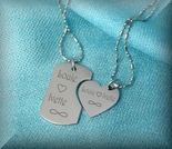 His and Hers The Minnis Dog Tag Heart Small Necklaces