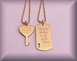 Personalized Gold  Dog Tag & Heart Key Necklaces Engraved Free