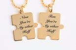 Personalized Gold Mini Puzzle Piece Necklace Set Engraved Free