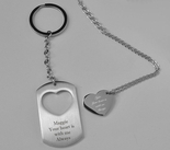 Personalized Heart & Dog Tag Keychain Necklace Set Engraved Free