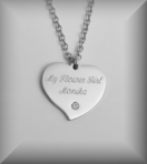 Personalized Silver CZ Mini Heart Necklace Engraved Free