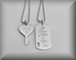 Personalized Silver Dog Tag & Heart Key Necklaces Engraved Free
