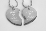 Personalized Silver Split Broken Tear Drop Heart Necklace Engraved Free