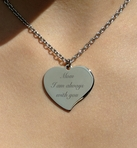 Personalized Silver Teardrop Heart Necklace Engraved