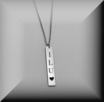 Personalized Silver Vertical Nameplate Name bar Necklace