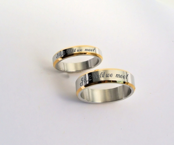 silver gold two tone s ring set gt engraved rings