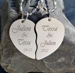 Personalized Silver Broken Heart Necklace Engraved Free