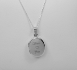 Personalized Sterling Silver Oval Locket Charm Necklace Engraved Free