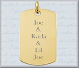 Small Gold Dog Tag Necklace Pendant
