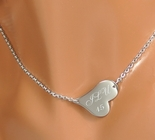 Small Personalized Side Heart Necklace Custom Engraved Free