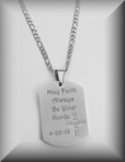 Stainless Steel Brushed Satin Stone Cross Religious Dog Tag