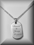 Stainless Steel Brushed Satin Stone Dog Tag Necklace