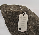 Stainless Steel Dog Tag Necklace With Cut Out Heart