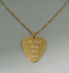 Stainless Steel Gold Plated Guitar Pick Necklace