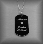 Stainless Steel Black Dog Tag Necklace Pendant
