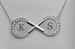 Stainless Steel Rhinestone Infinity Necklace
