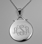Sterling Silver Monogram Circle Pendant Charm with Necklace