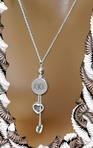 Sterling Silver Monogram Circle Pendant & Hearts Necklace