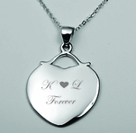 Sterling Silver Monogram Heart Pendant Charm with Necklace