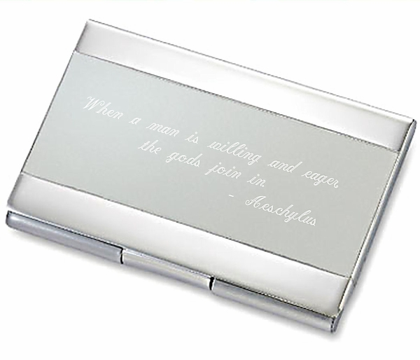 Two Tone Silver Business Card Holder Business Card Holders