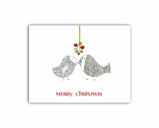 Kissing Christmas Birds greeting cards