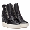 """<font size=""""2"""" color=""""red"""">NEW</font><p>Ash  Action Womens Wedge Sneaker Black Embossed Leather  350337 (001)"""