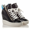 Ash  Atomic Womens Wedge Sneaker Black & Green Leather 350002 (972)