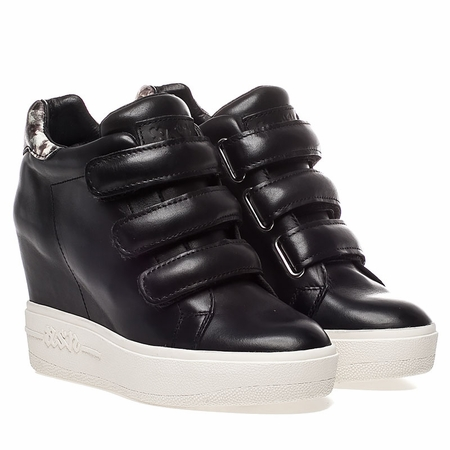 Ash  Avedon Womens Wedge Sneaker Black and Stone Leather 350311 (976)