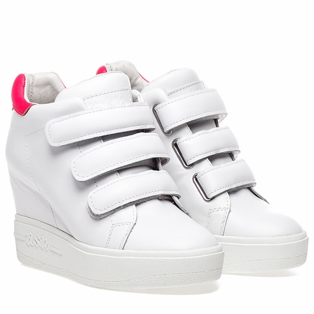 Ash  Avedon Womens Wedge Sneaker White and Pink Leather 350312 (144)