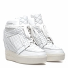 """<font size=""""2"""" color=""""red"""">NEW</font><p>Ash  Azimut Womens Wedge Sneaker White Quilted Leather  350342 (100)"""