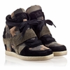 Ash  Babe Bis Kids Wedge Sneaker  Black and Military Suede 330478 (970)