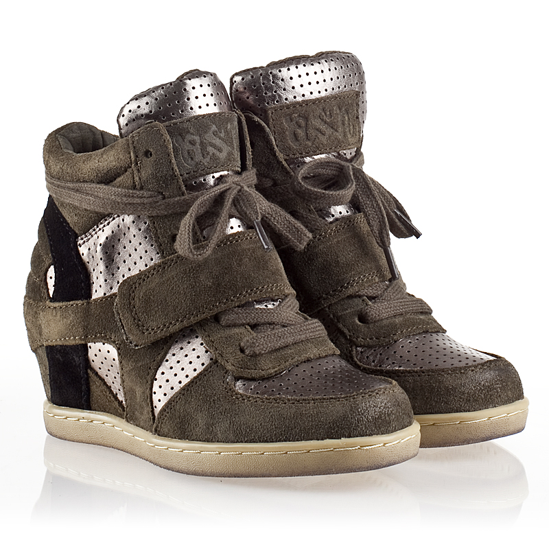 Ash  Babe Bis Kids Wedge Sneaker  Military Suede and Piombo Leather 330477 (351) Final Sale